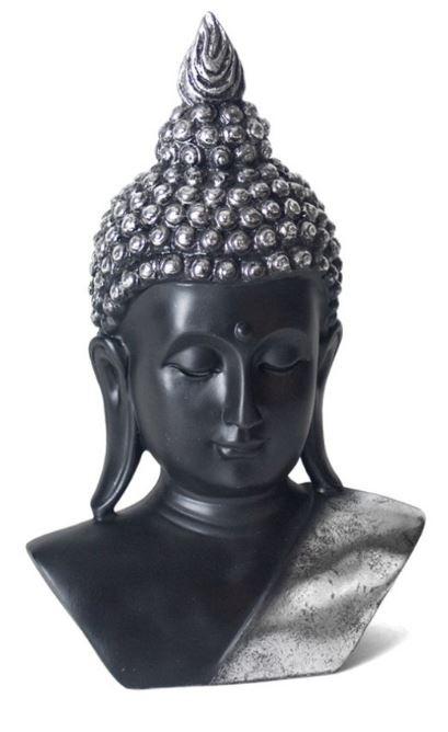 Gerimport Borstbeeld Boeddha 30 X 18 Cm Polyresin Zwart Zilver Twm Tom Wholesale Management