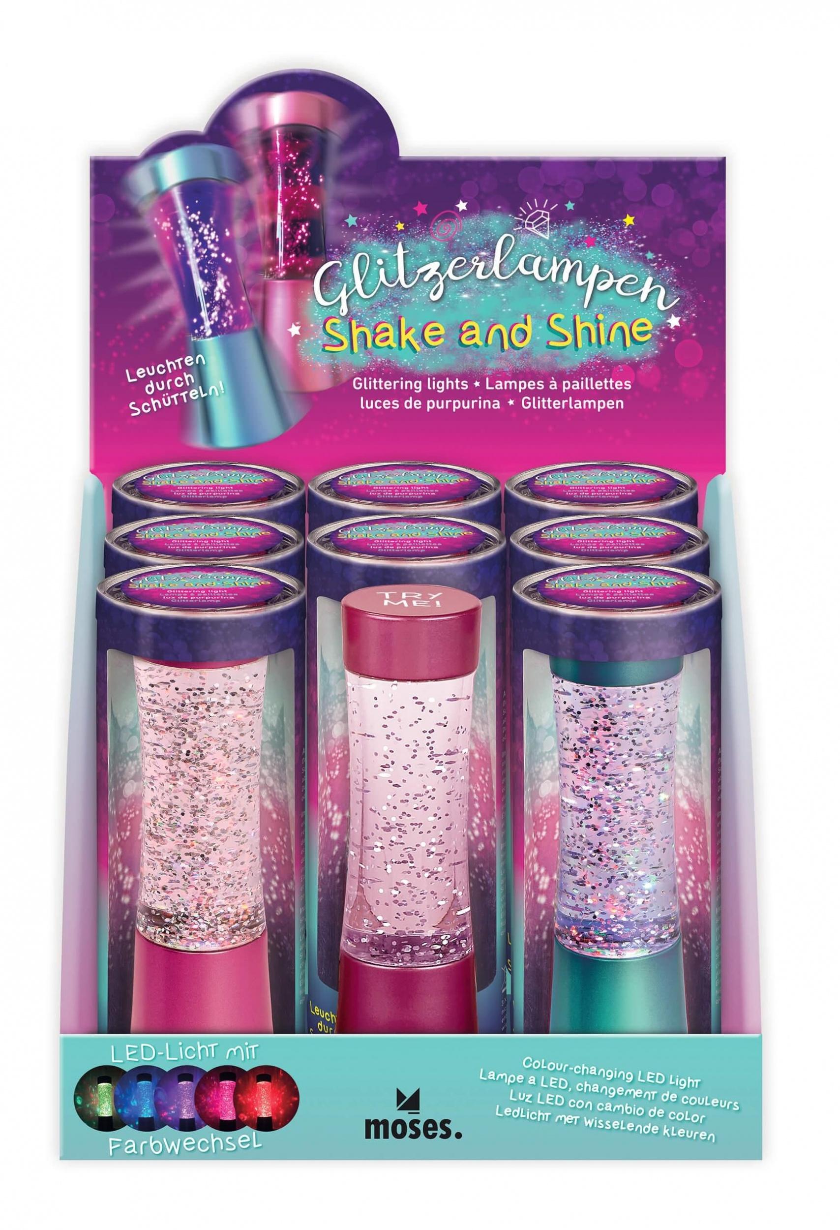 Moses glitzer LED Lampe Shake and Shine 15 cm blau