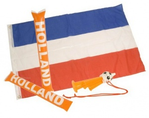 Nederlands Fanset 4-delig vlag/fluit/cheersticks