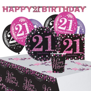 Amscan partypakket happy 21th birthday dames roze/zwart 41-delig