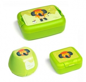 Amuse lunchset Animal Carnival junior groen 3-delig