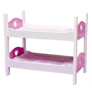 Angel Toys poppen stapelbed hout wit/roze 50,5 x 27,5 x 43 cm
