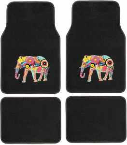 Car Plus automattenset Indian Elephant textiel zwart 4-delig