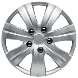 Car Plus wieldoppen Austin 16 inch ABS zilver set van 4