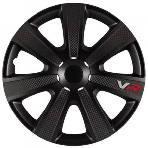 Car Plus wieldoppen VR 13 inch ABS Carbon zwart set van 4
