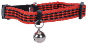 Cats Collection kattenhalsband met belletje 31 cm nylon rood