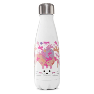 Chicco drinkfles Poes junior 350 ml RVS wit