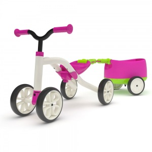 Chillafish Quadie loopfiets met trailer Junior Roze/Lime