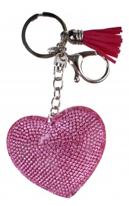 Create It! key ring heart with rhinestones 5 cm pink