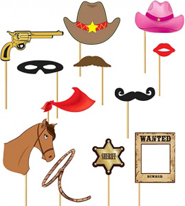 Fiestas Guirca photobooth decoraties cowboy 12 stuks multicolor