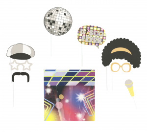 Fiestas Guirca photobooth decoraties disco 9 stuks multicolor