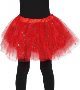 Fiestas Guirca tutu glitter 31 cm polyester rood one-size