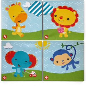 Fisher-Price Canvas Set 4 stuks 25 x 25 cm