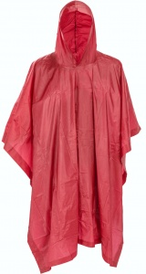 Free and Easy regenponcho met capuchon unisex rood one size