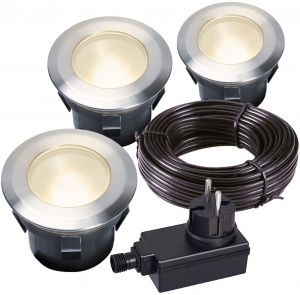 Garden Lights tuinspotset Larch 7 cm RVS SMD-led 1W 12V zilver