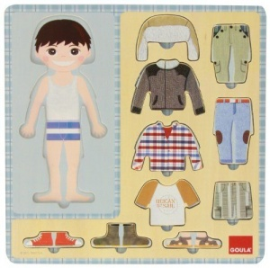 Goula vormenpuzzel Dress-up Boy junior hout 10 stukjes