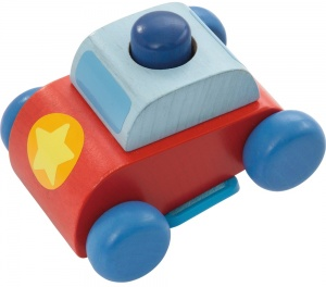 Haba politieauto hout 8 cm rood/blauw