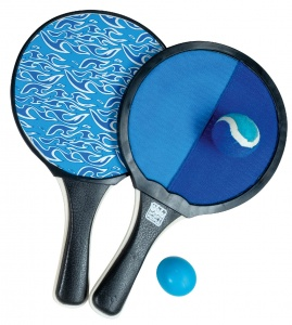 Happy People beachballset en vangspel 2-in-1 blauw/zwart