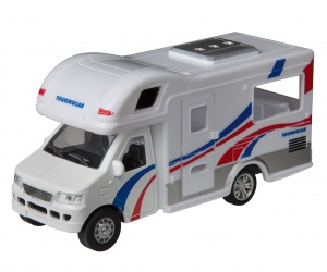 Happy People Touringcar camper 12 cm wit/blauw/rood