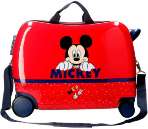 Jim Jam Bags concepts Mickey Mouse ride-on koffer 34 liter rood