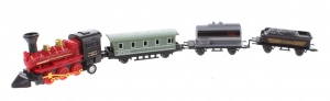 Johntoy speelgoedtrein met drie wagons 7,5 cm rood