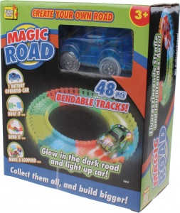Kids Fun racebaan Magic road blauw 48-delig