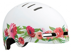 Lazer kinderhelm Street-Flowers junior 52-56 cm wit/groen
