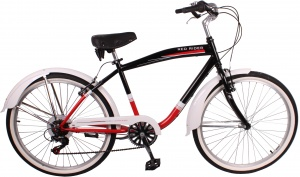 Leader City 26 Inch Heren 6V V-Brake Zwart/Rood