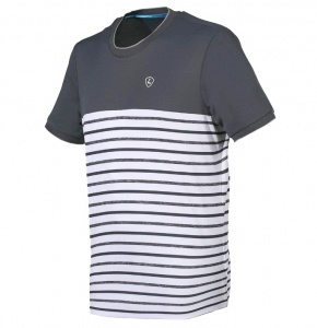 Limited Sports Tennisshirt heren grijs/wit strepen XXL