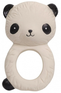 A Little Lovely Company bijtring Panda junior 10 cm rubber beige