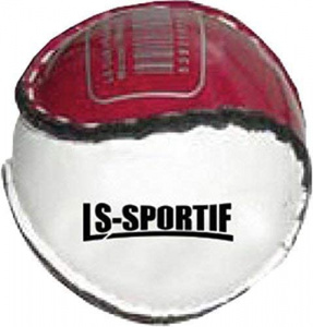 LS Sportif hurlingbal Sliotar junior 6,5 cm kurk/leer bordeaux/wit