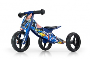 Milly Mally 2-in-1 loopfiets Jake Cars Junior Blauw