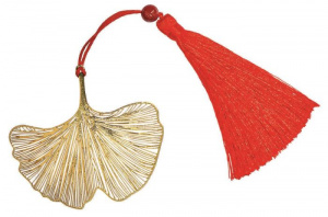 Moses bladwijzer Omm For You Ginko 7 cm staal goud/rood