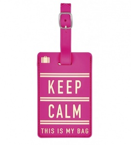 Moses kofferlabel Keep Calm 11 x 7 cm roze