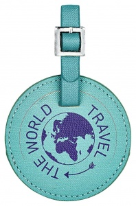 Moses kofferlabel Travel the world 7 cm turquoise