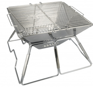 AceCamp draagbare houtskoolgrill barbecue RVS 34x36 zilver