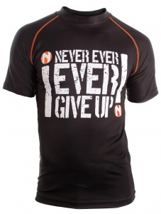 Nihon thermoshirt Rashguard Never Give Up heren zwart