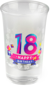 Paper Dreams shotglaasjes Happy 18 jaar 30 ml glas 6 stuks