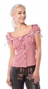 Partychimp top Liesl dames polyester rood/wit
