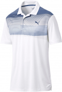 Puma golfpolo Refraction heren polyester wit/blauw