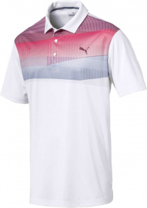 Puma golfpolo Refraction heren polyester wit/blauw/rood