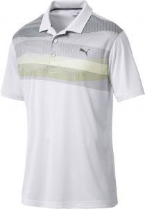 Puma golfpolo Refraction heren polyester wit/geel/grijs