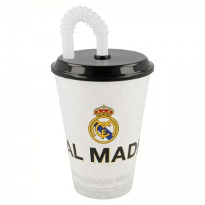 Real Madrid drinkbeker met rietje 430 ml wit