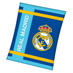 Real Madrid fleecedeken 130 x 160 cm blauw/wit Real Madrid