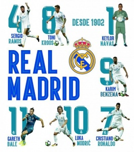 Real Madrid muursticker 16 spelers en logo 2 stickervellen