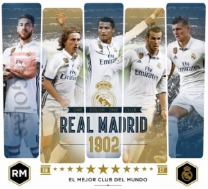 Real Madrid muursticker 5 spelers
