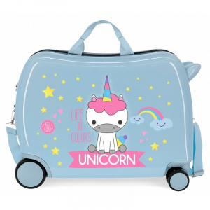 Roll Road ride-on-koffer Unicorn 34 liter ABS 50 cm blauw