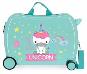 Roll Road ride-on-koffer Unicorn 34 liter ABS 50 cm turquoise
