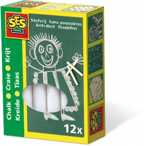SES Creative bordkrijtjes junior wit 12 stuks