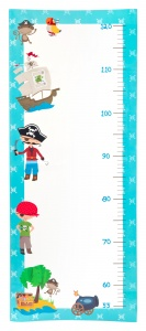 Small Foot groeimeter decoratiesticker Piraten 73 cm blauw